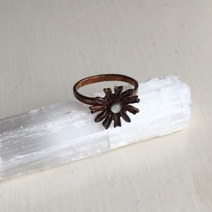 Copper Flower Ring with Pearl Stud